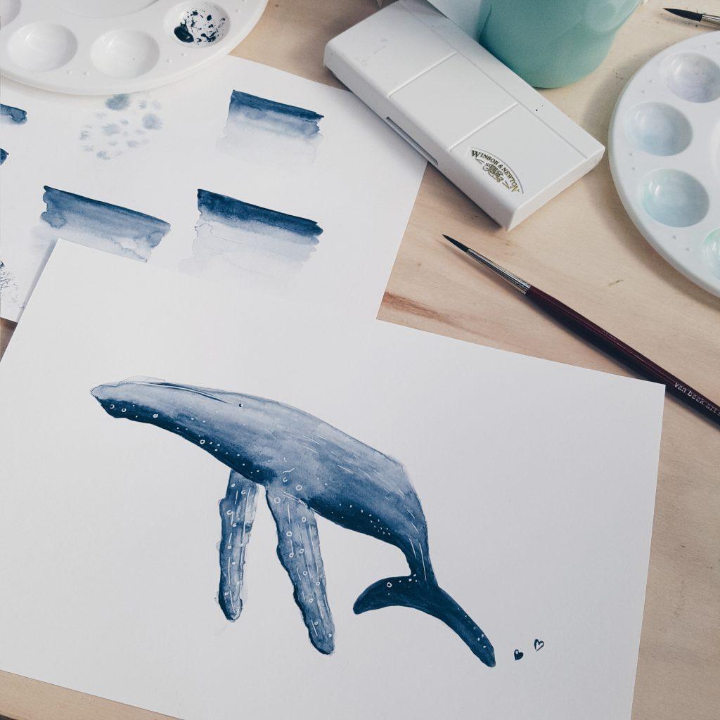 aquarel walvis Dagmar Valerie
