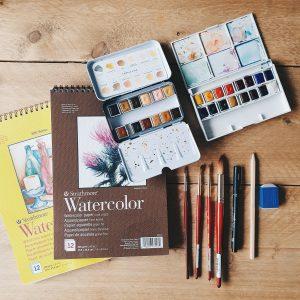 Deze materialen gebruik ik tijdens het schilderen met aquarel / waterverf