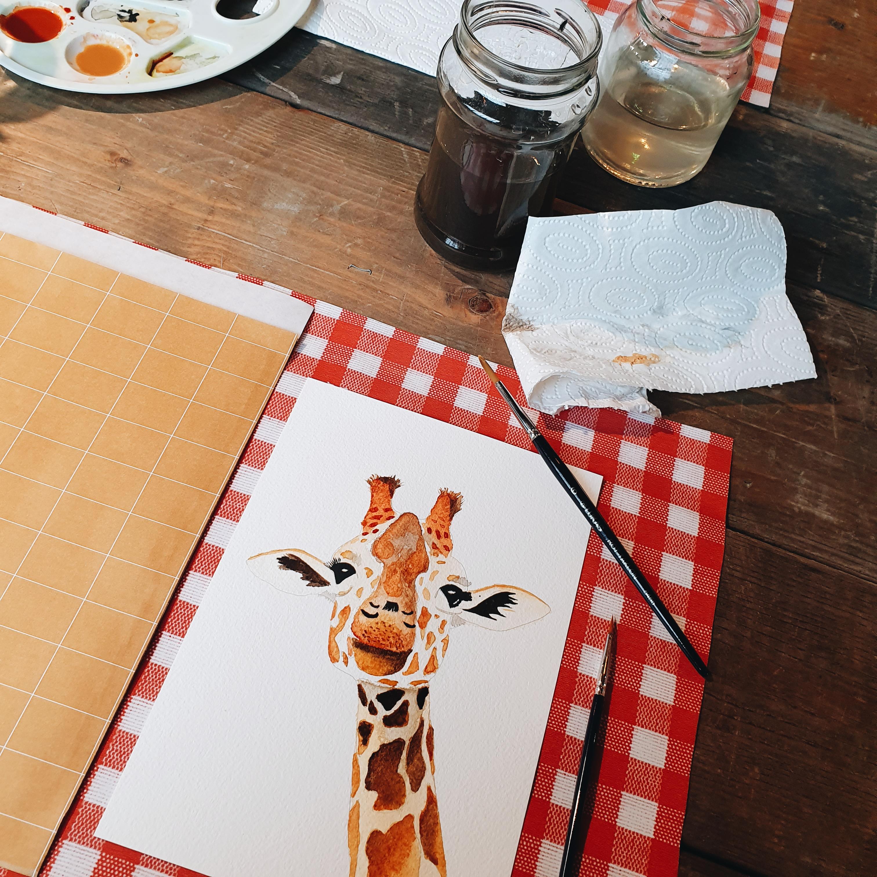 Naar Paper Passion – Workshop giraf schilderen met aquarel