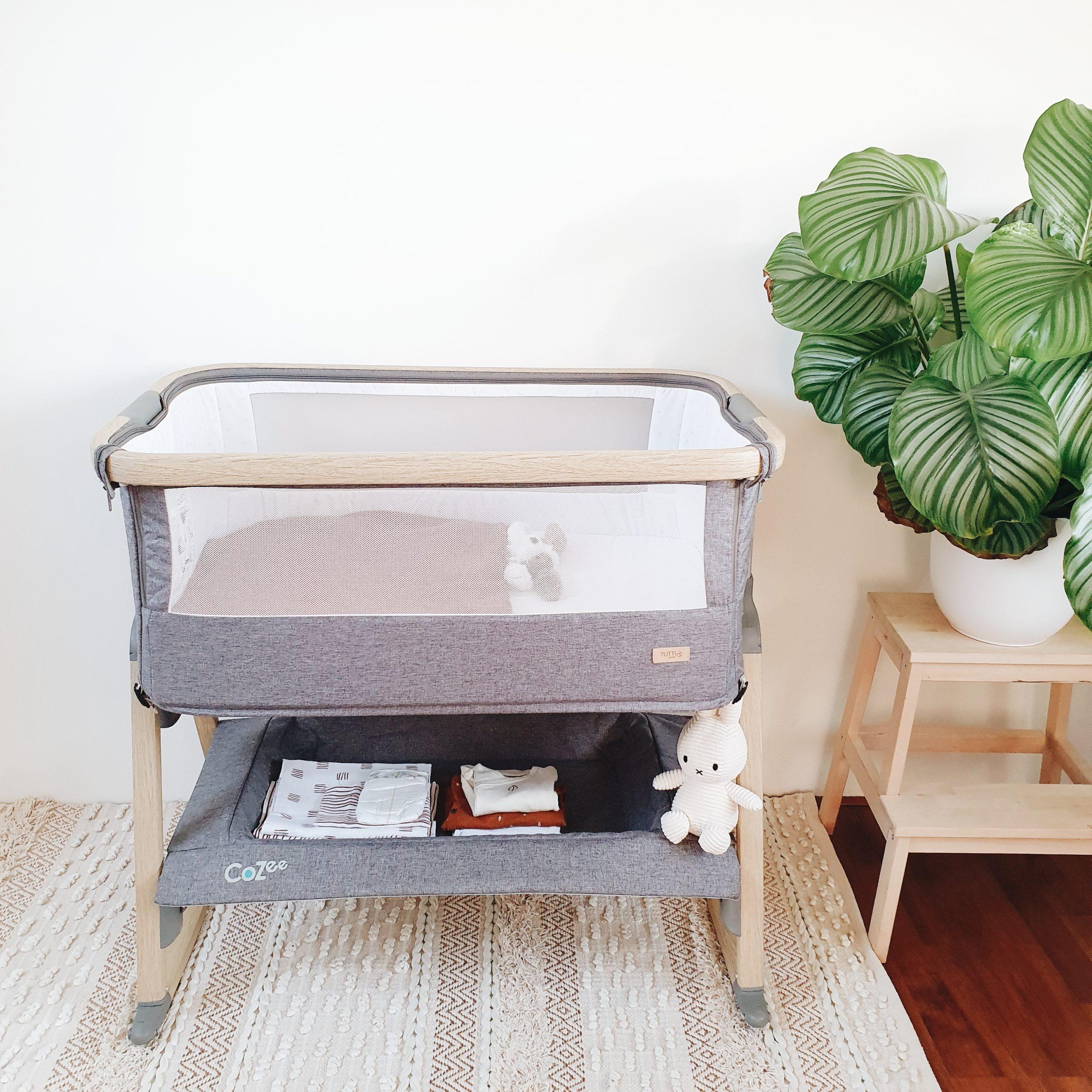 Tutti Bambini Cozee Bedside Wieg Oak Charcoal Dagmar Valerie